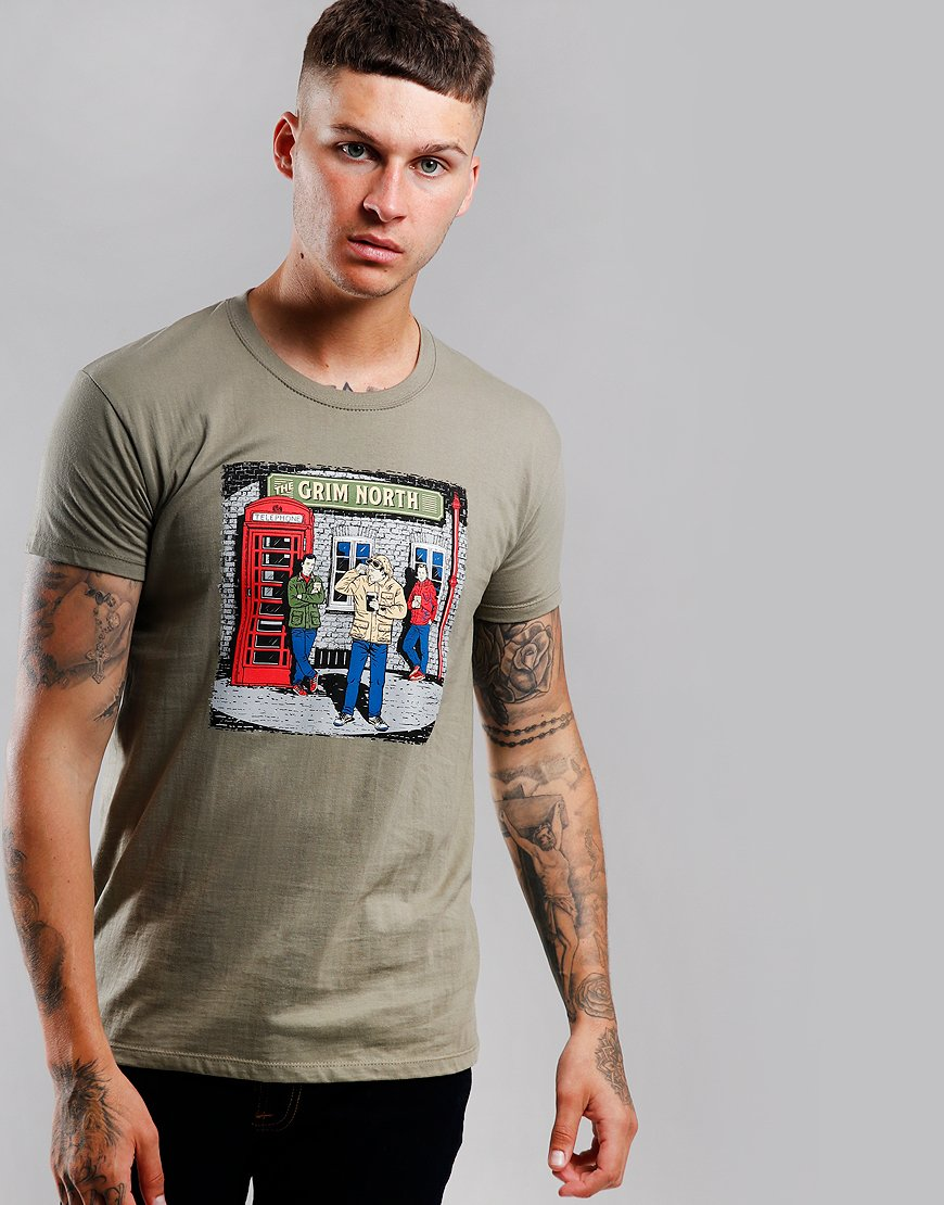 Eighties Casuals The Grim North T-Shirt Khaki