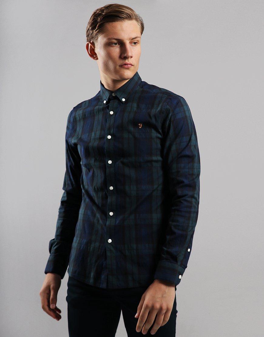 Farah Brewer Long Sleeve Slim Fit Shirt Gillespie Green