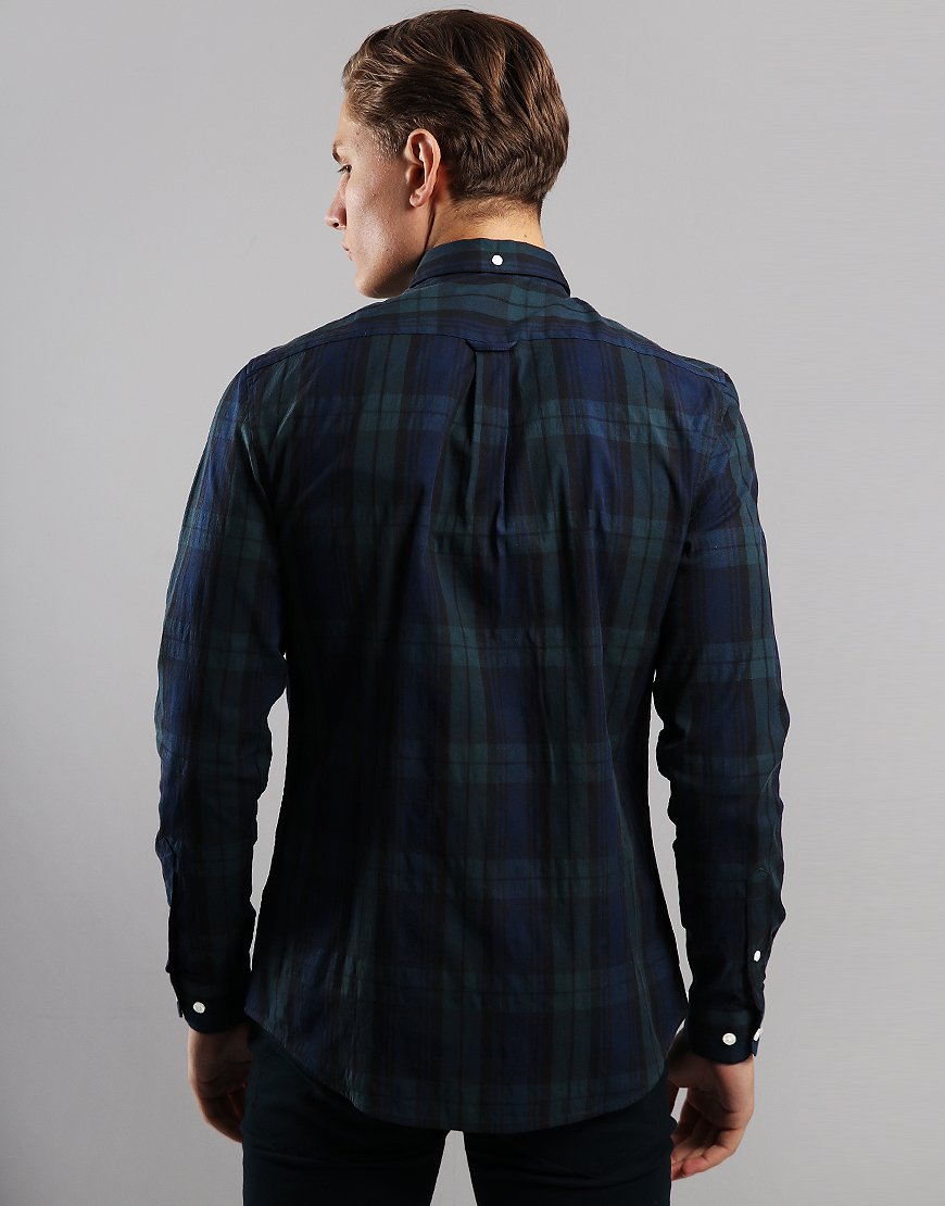 Farah Brewer Long Sleeve Slim Fit Shirt Gillespie Green