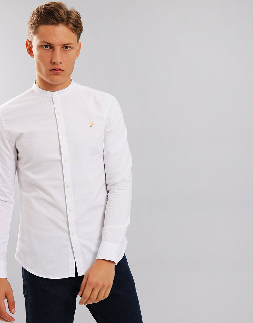 Farah Brewer Slim Grandad Shirt White