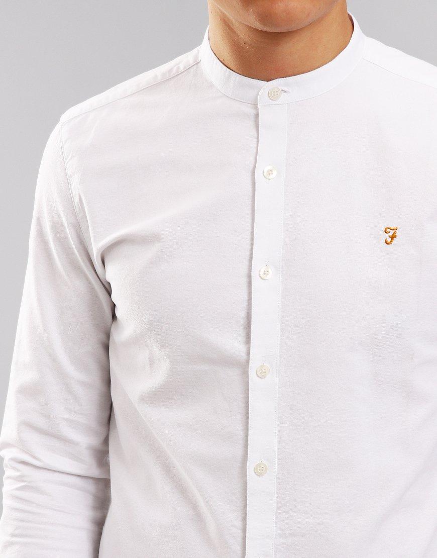 b83595a2 Farah Brewer Slim Grandad Shirt White - Terraces Menswear
