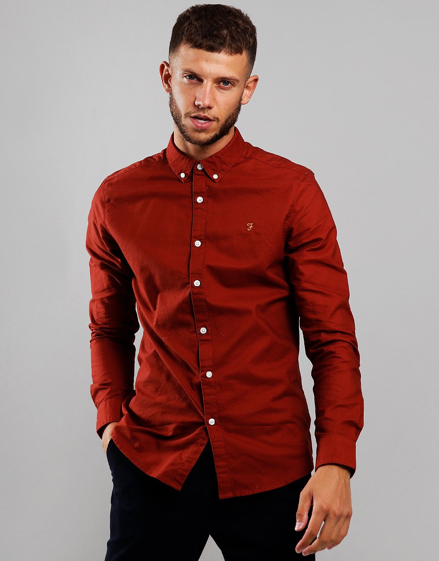 Farah Brewer Long Sleeve Slim Fit Shirt Burnt Red