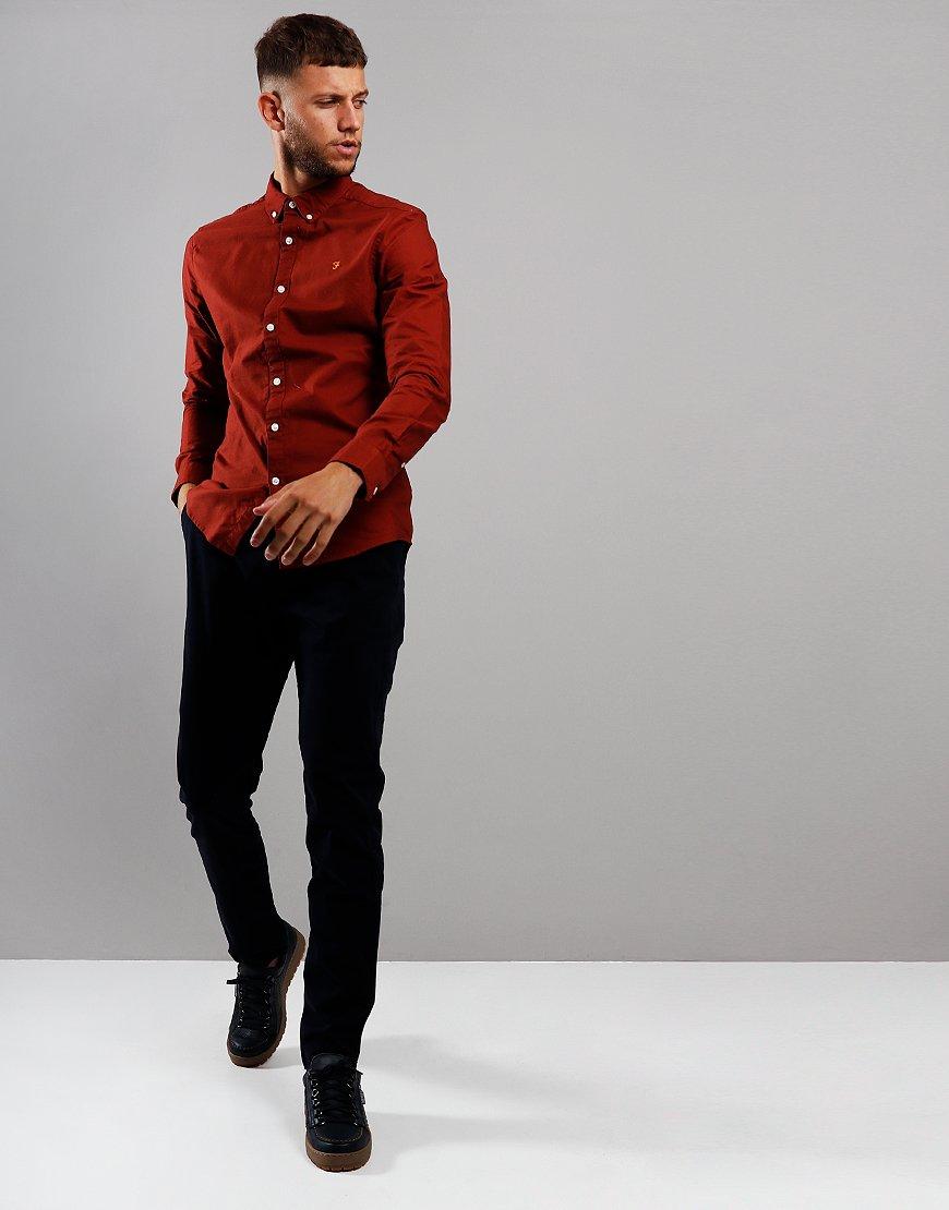 Farah Brewer Long Sleeve Slim Fit Shirt Burnt Red