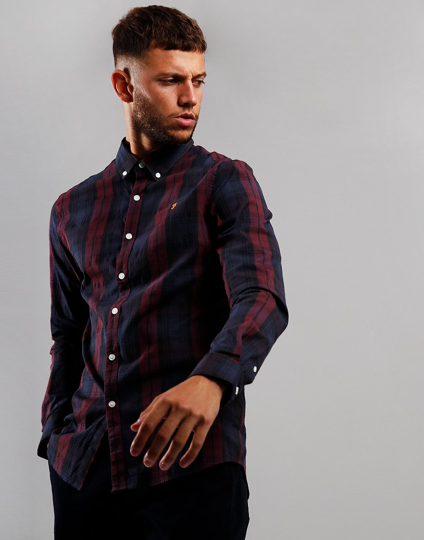 Farah Brewer Tartan Long Sleeve Slim Fit Shirt Farah Red