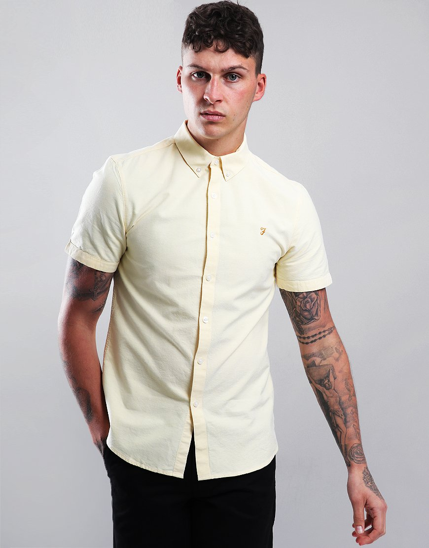 Farah Brewer Slim Fit Shirt Acid Yellow