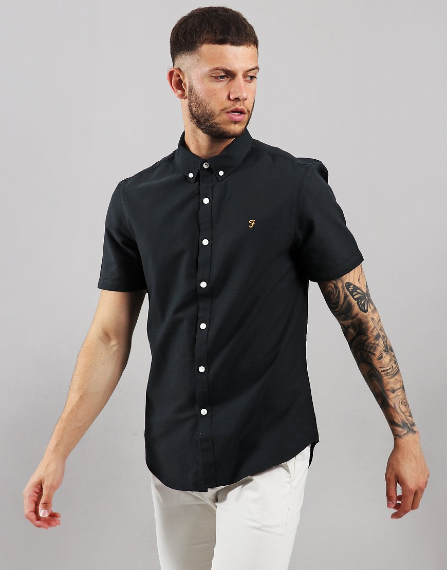 Farah Brewer Slim Fit Shirt Black Ink
