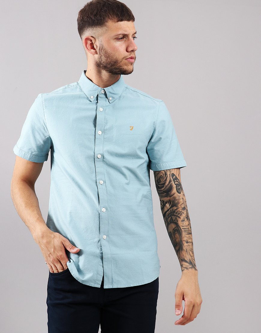 Farah Brewer Slim Fit Shirt Turquoise