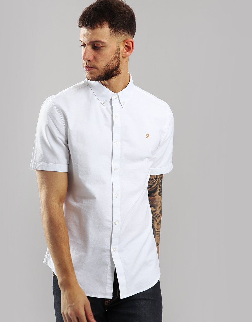 Farah Short Sleeved Brewer Slim Fit Shirt White