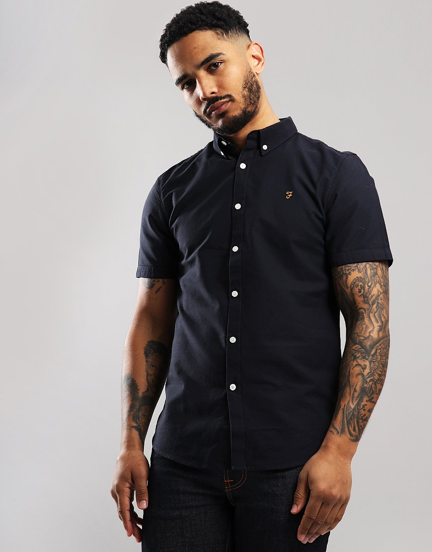 Farah Short Sleeved Brewer Slim Fit Shirt Navy