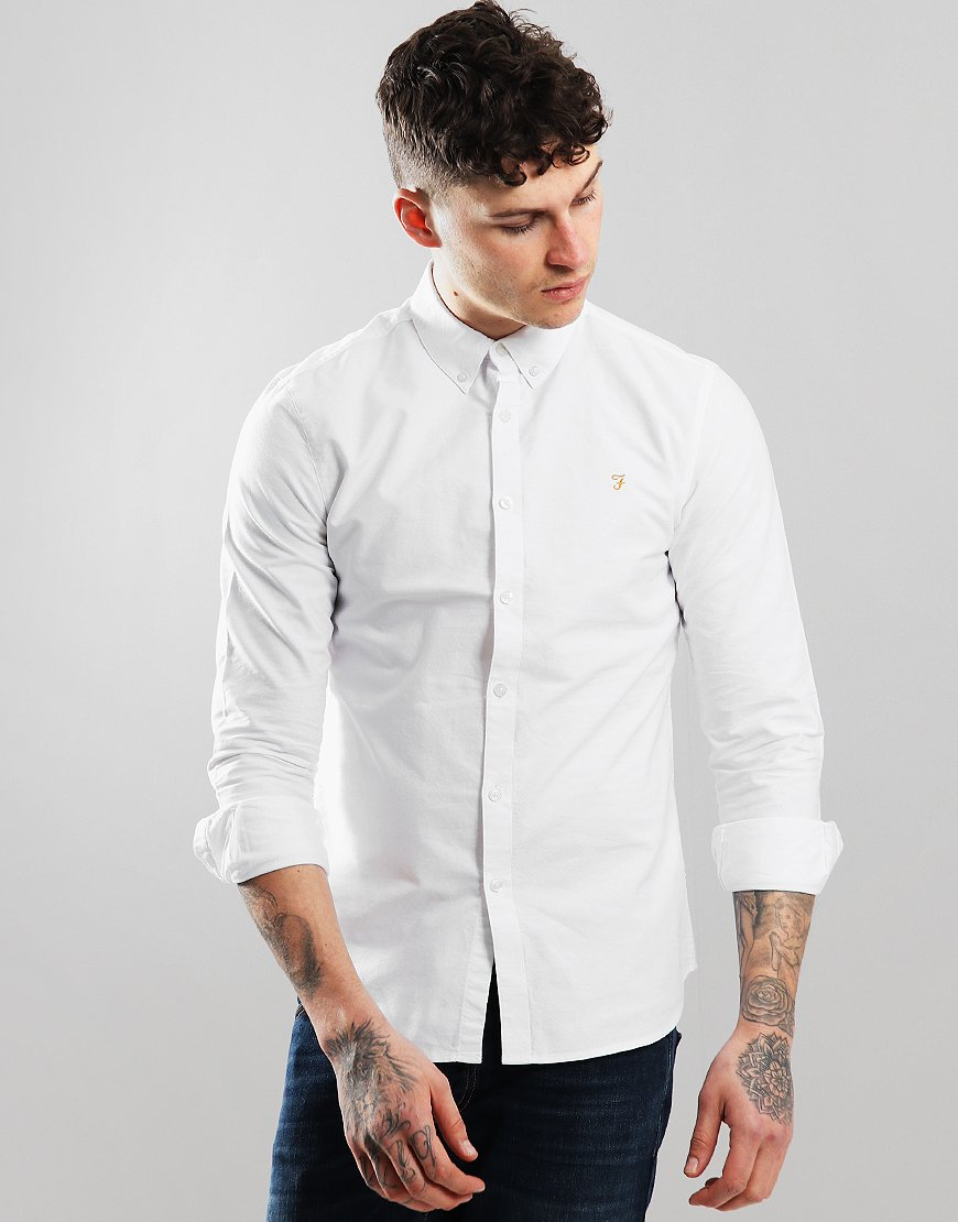 Farah Brewer Long Sleeve Slim Fit Shirt White
