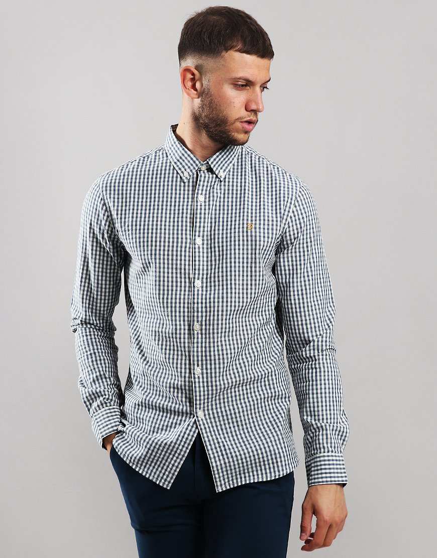 Farah Johan Long Sleeve Gingham Shirt Bobby Blue