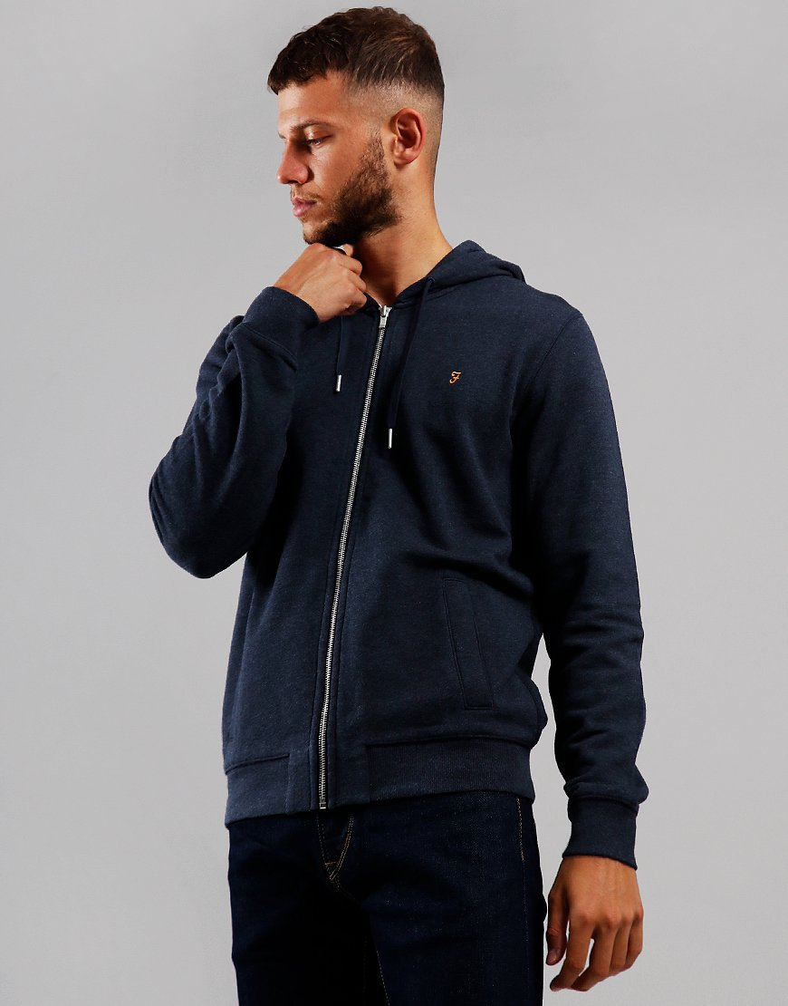 Farah Kyle Hooded Zip Through Sweat True Navy Marl