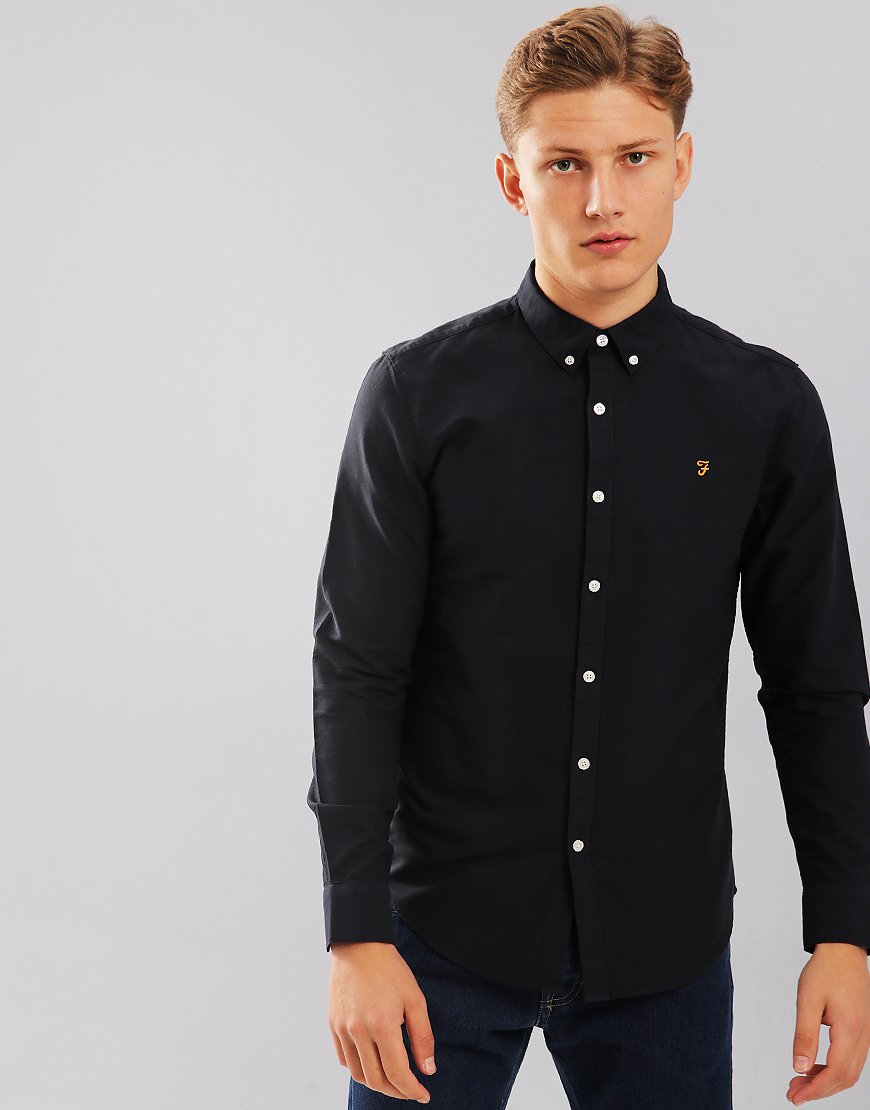 Farah Brewer Long Sleeve Slim Fit Shirt Navy