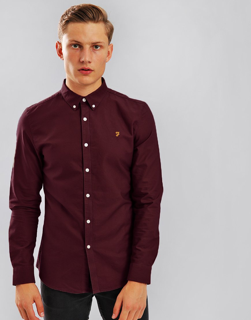 Farah Brewer Long Sleeve Slim Fit Shirt Farah Red