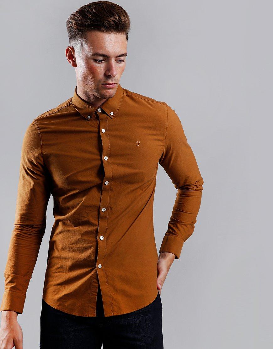 Farah Brewer Long Sleeve Slim Fit Shirt Spanish Brown
