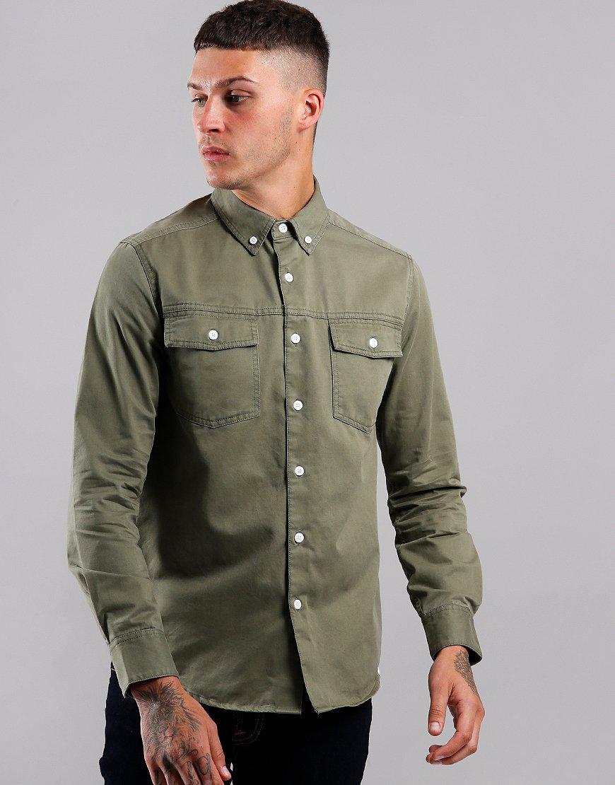 Farah Whittle Long Sleeve Shirt Vintage Green