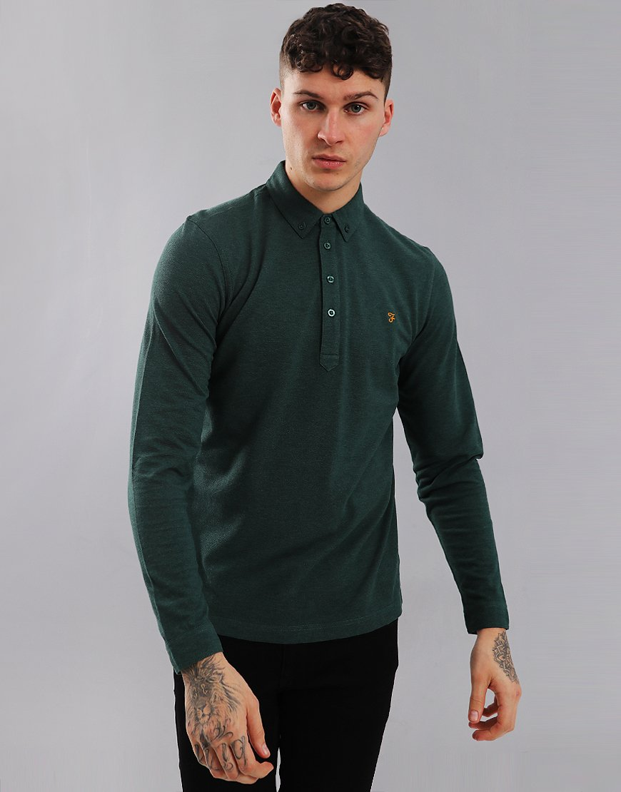 Farah Merriweather Long Sleeved Polo Shirt Gillespie Green