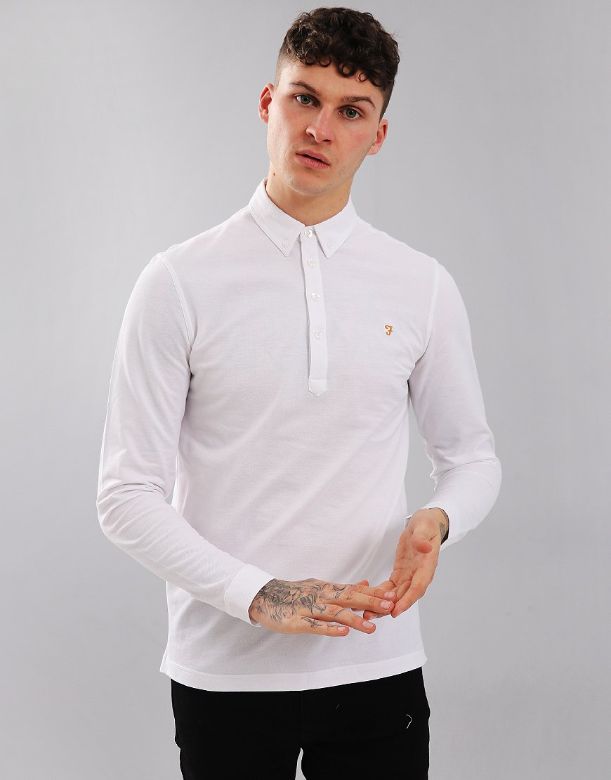 Farah Merriweather Long Sleeved Polo Shirt White
