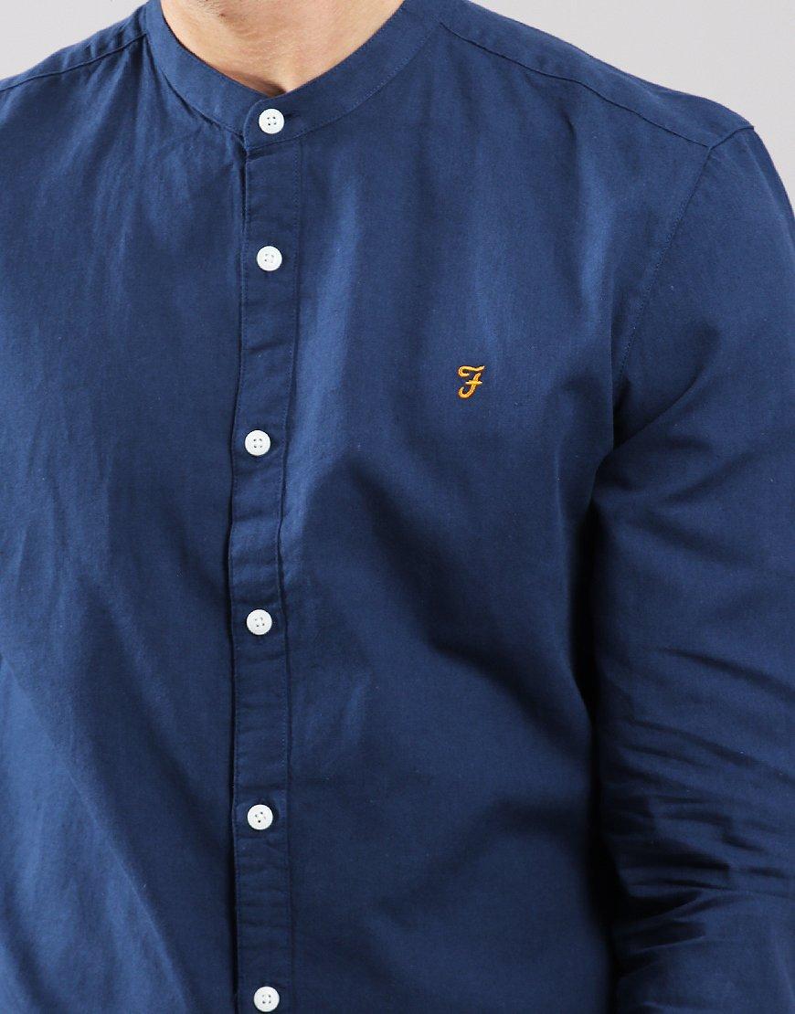 Farah Owens Long Sleeve Grandad Shirt Yale