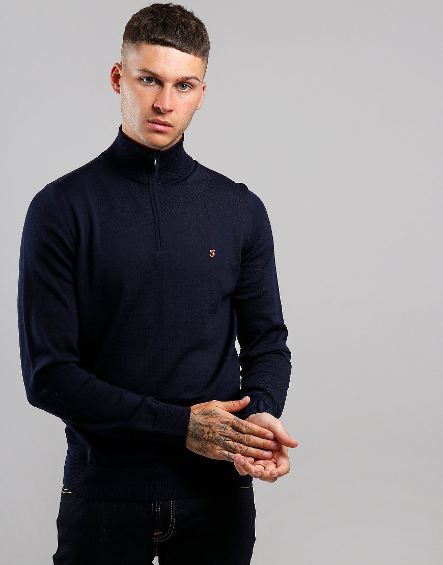 Farah Redchurch Funnel Neck Merino Knit True Navy