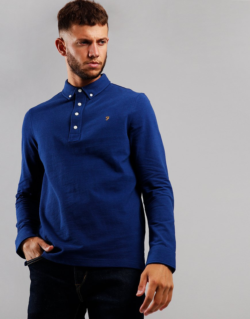 Farah Ricky Long Sleeve Polo Shirt Blue Peony Marl