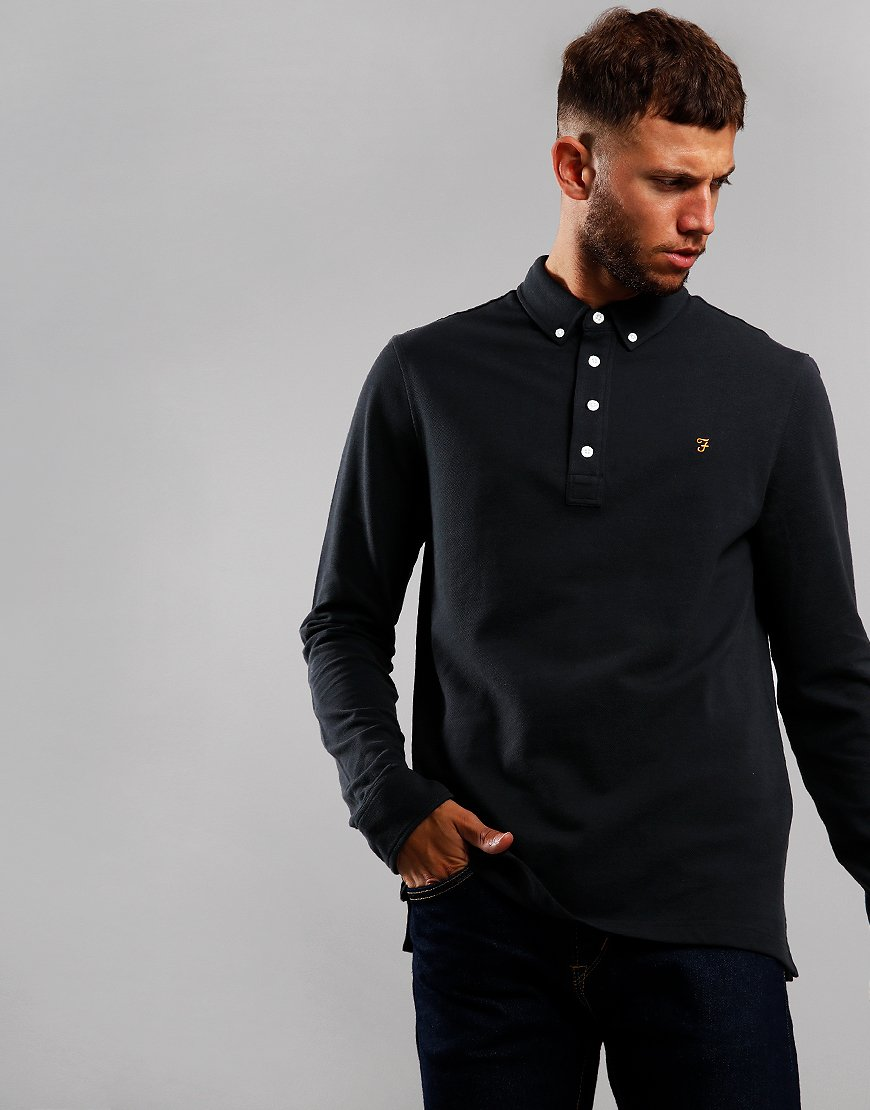 Farah Ricky Long Sleeve Polo Shirt Deep Black