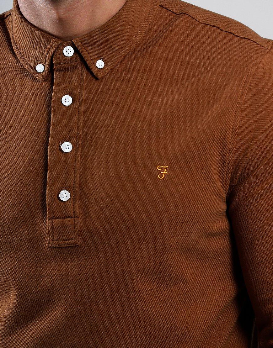 Farah Ricky Long Sleeve Polo Shirt Spanish Brown