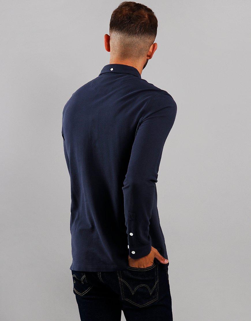 Farah Ricky Long Sleeve Polo Shirt True Navy