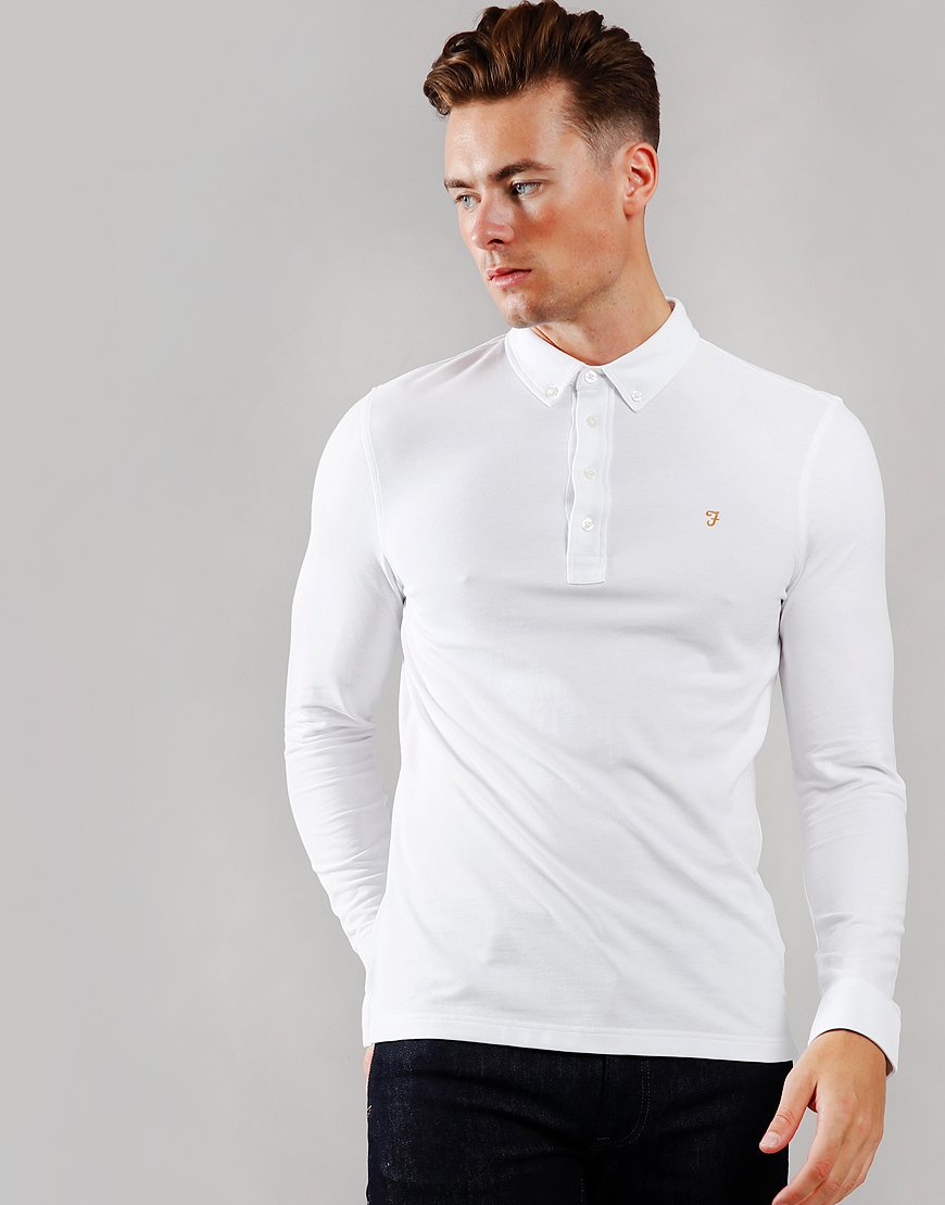 Farah Ricky Long Sleeve Polo Shirt White