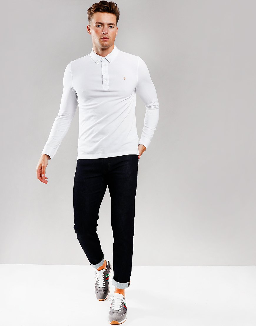 Farah Ricky Long Sleeve Polo Shirt White