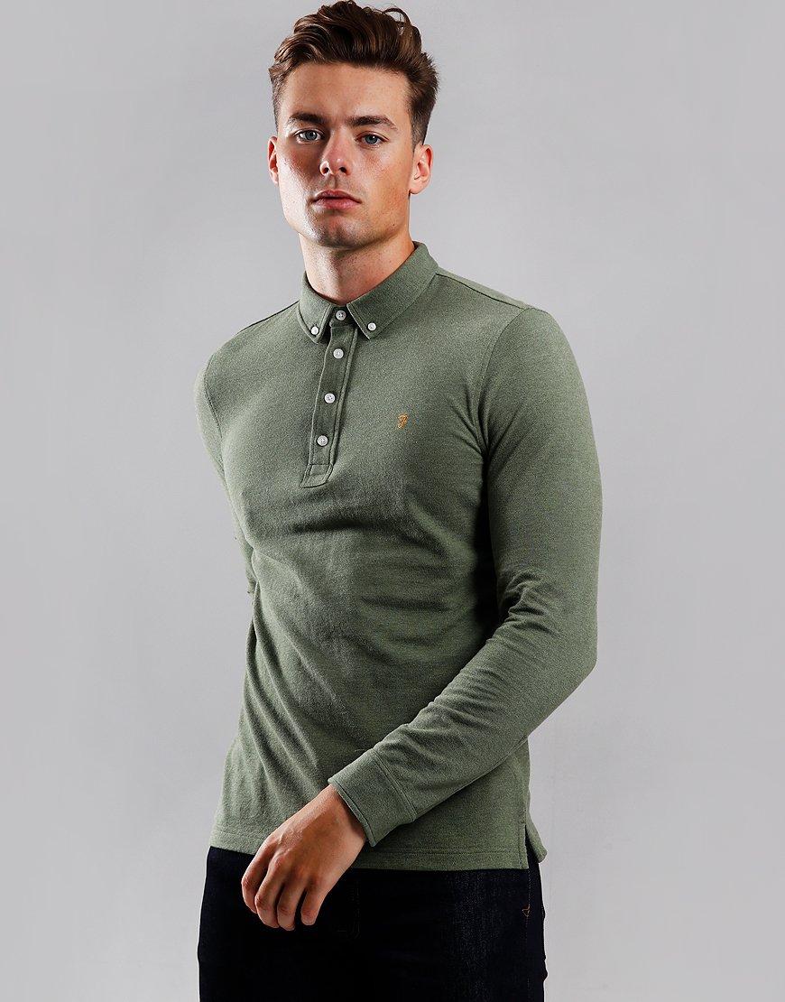 Farah Ricky Long Sleeve Polo Shirt Winter Balsam Marl