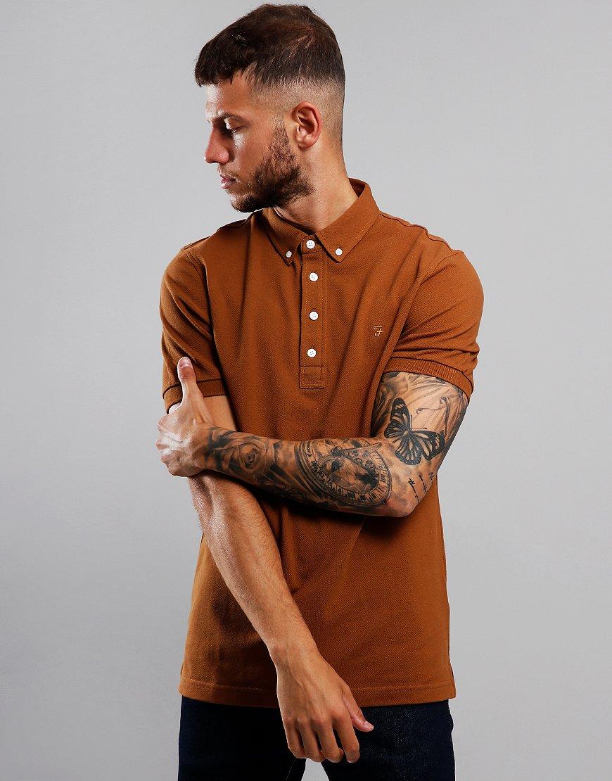 Farah Ricky Polo Shirt Spanish Brown
