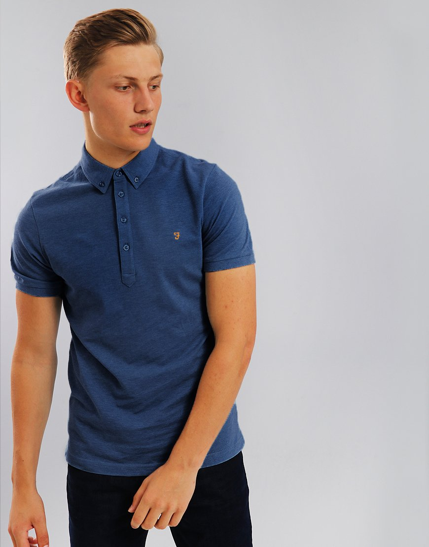 Farah Merriweather Polo Shirt Bobby Blue Marl