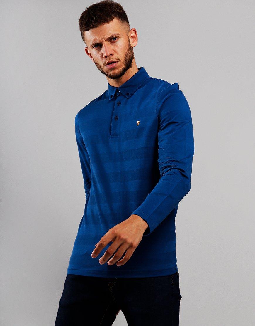 Farah Stapleton Long Sleeve Polo Shirt Blue Peony
