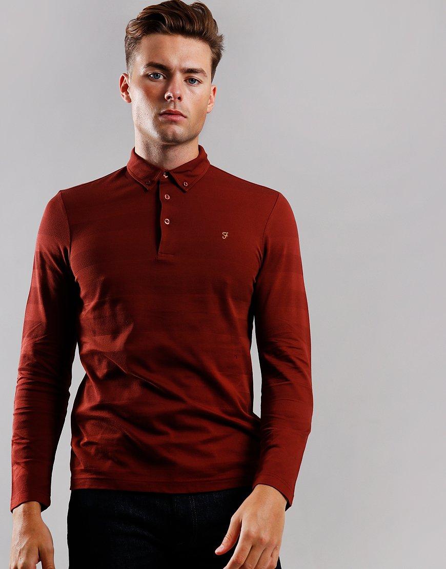 Farah Stapleton Long Sleeve Polo Shirt Burnt Red