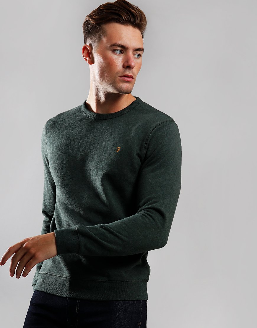 Farah Tim Crew Sweat Deep Olive Marl