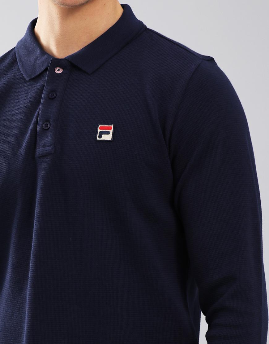 Fila Vintage Bertoni Long Sleeve Polo Shirt Peacoat