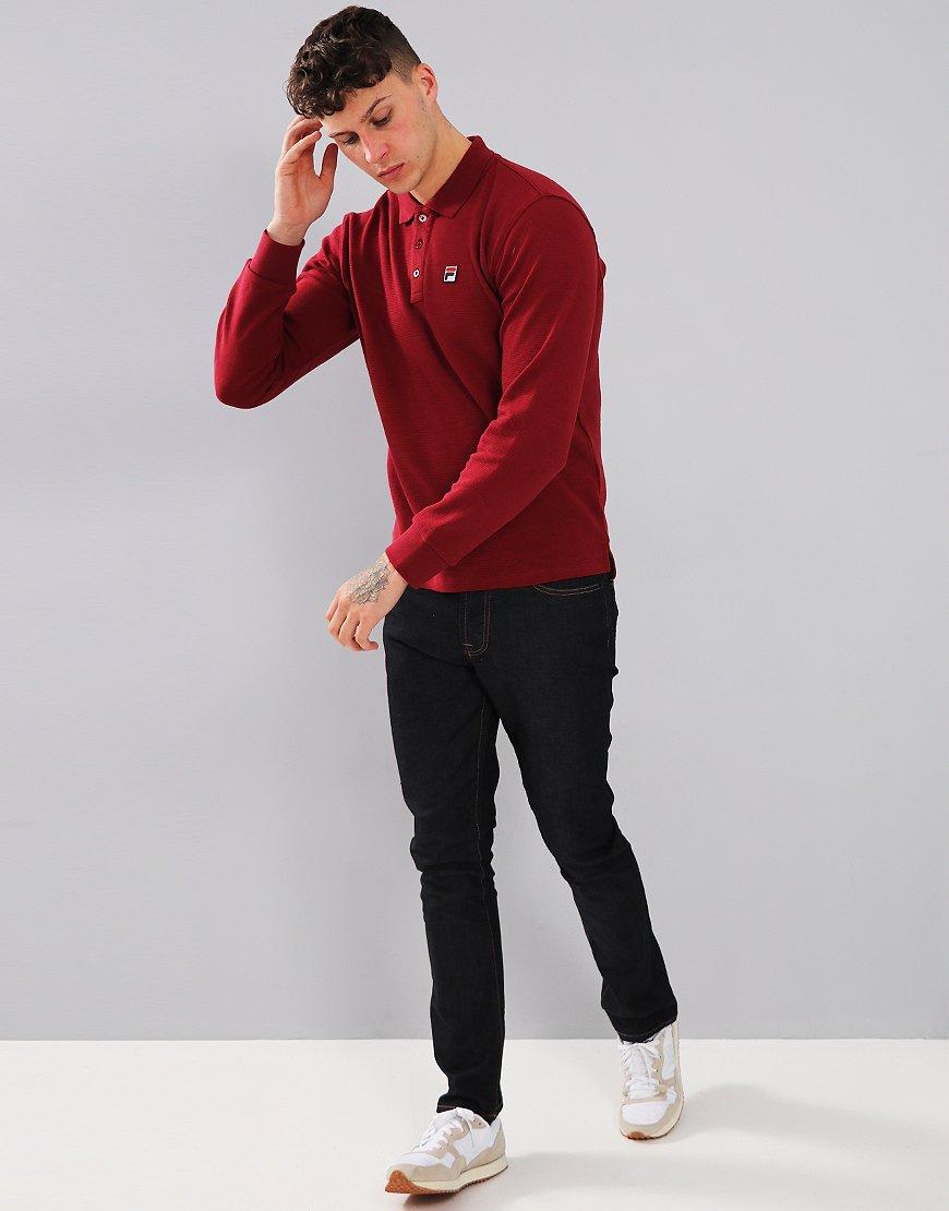 Fila Vintage Bertoni Long Sleeve Polo Shirt Tibetan Red