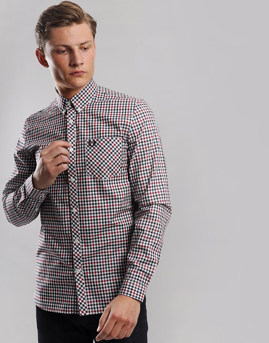 Fred Perry Four Colour Gingham Shirt Rosso