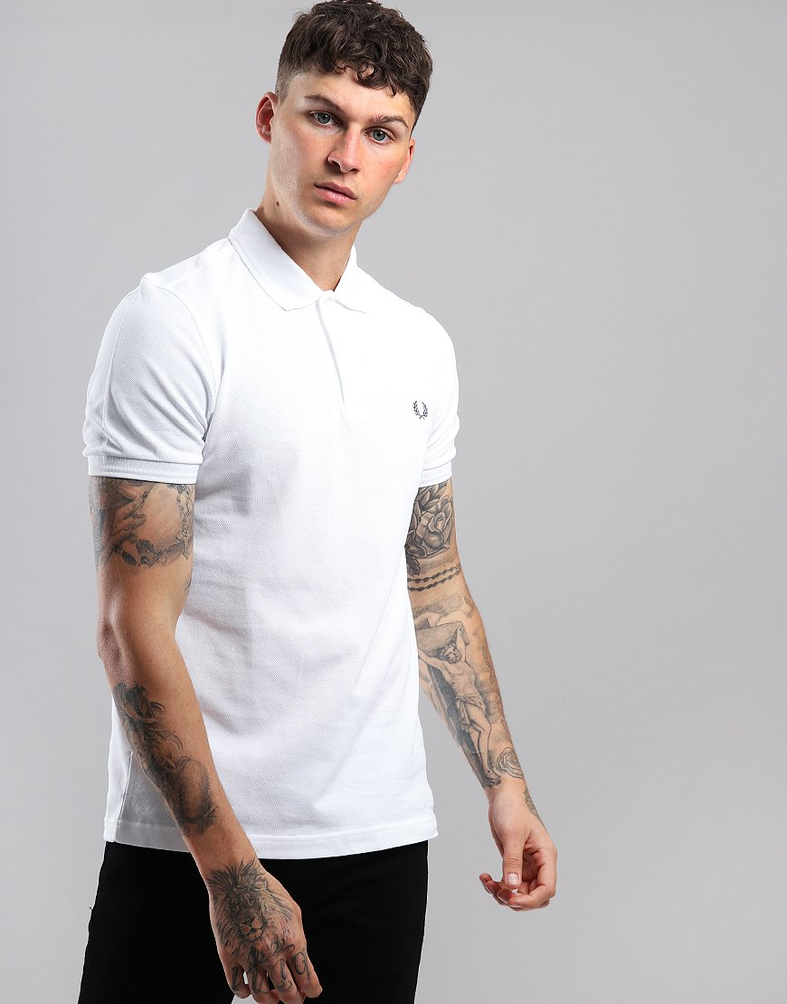 Fred Perry Back Laurel Piqué Polo Shirt White