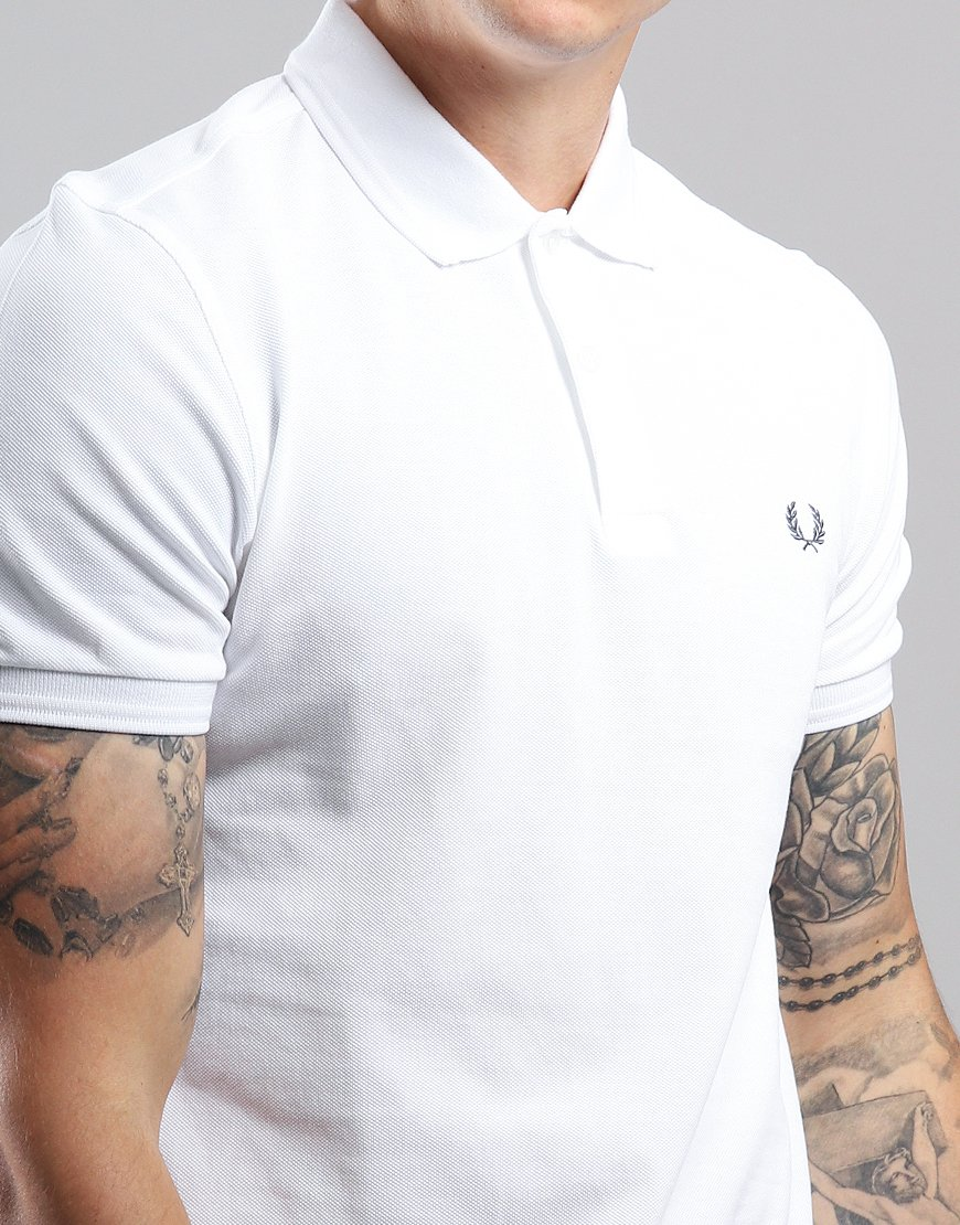 d90b4a9a4 Fred Perry Back Laurel Piqué Polo Shirt White - Terraces Menswear