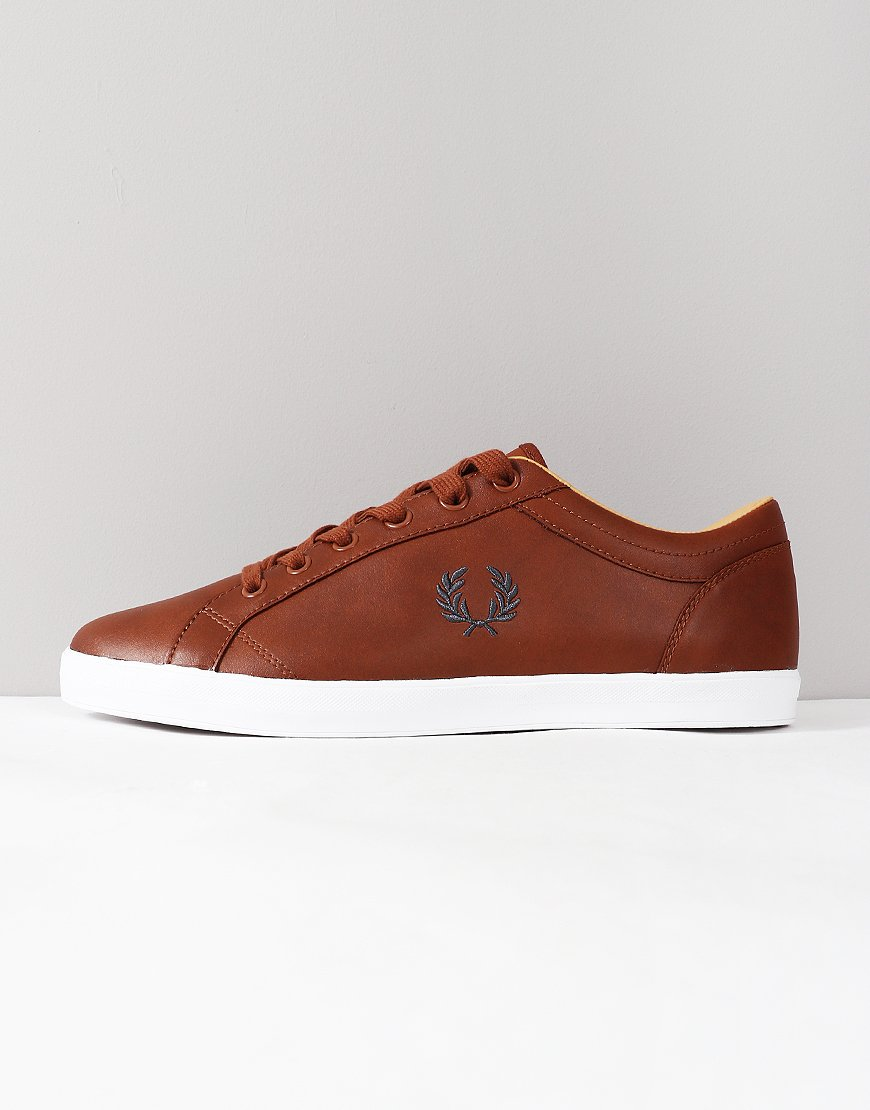 Fred Perry Baseline Leather Trainers Tan
