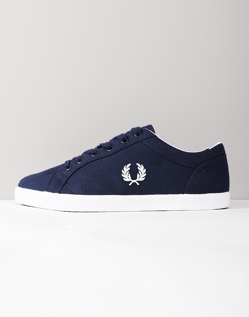 Fred Perry Baseline Canvas Trainers Carbon Blue
