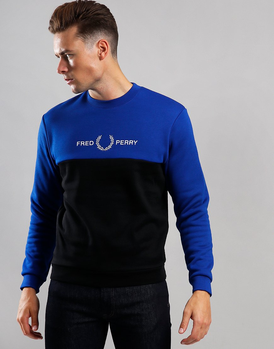 Fred Perry Colour Block Graphic Print Sweat Bright Regal