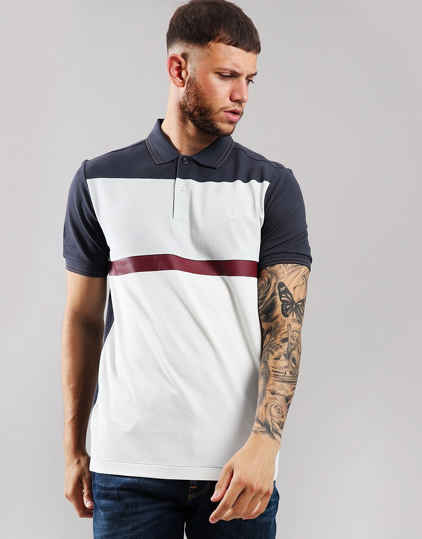 Fred Perry Block Panel Piqué Polo Shirt Graphite