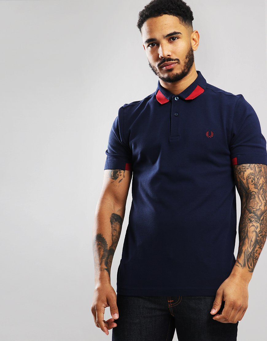 Fred Perry Block Tipped Piqué Polo Shirt Carbon Blue