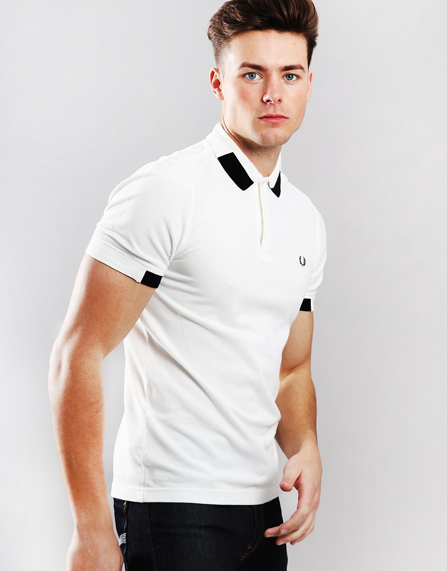 Fred Perry Block Tipped Piqué Polo Shirt Snow White