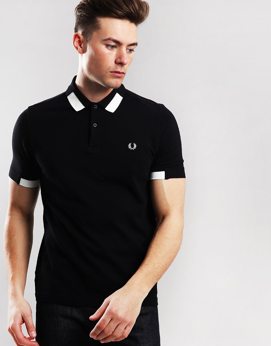 Fred Perry Block Tipped Piqué Polo Shirt Black