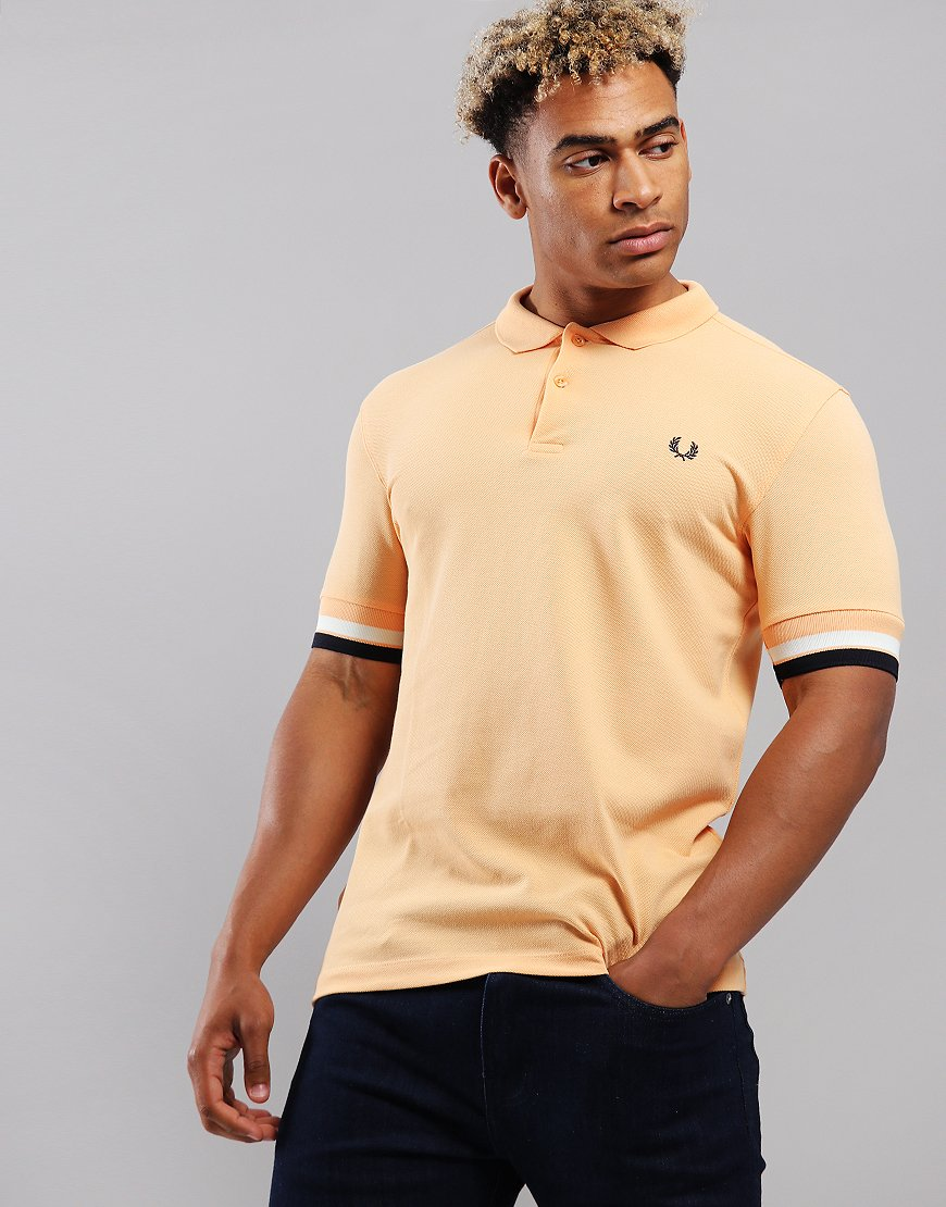 Fred Perry Bold Cuff Pique Polo Shirt Apricot Nector