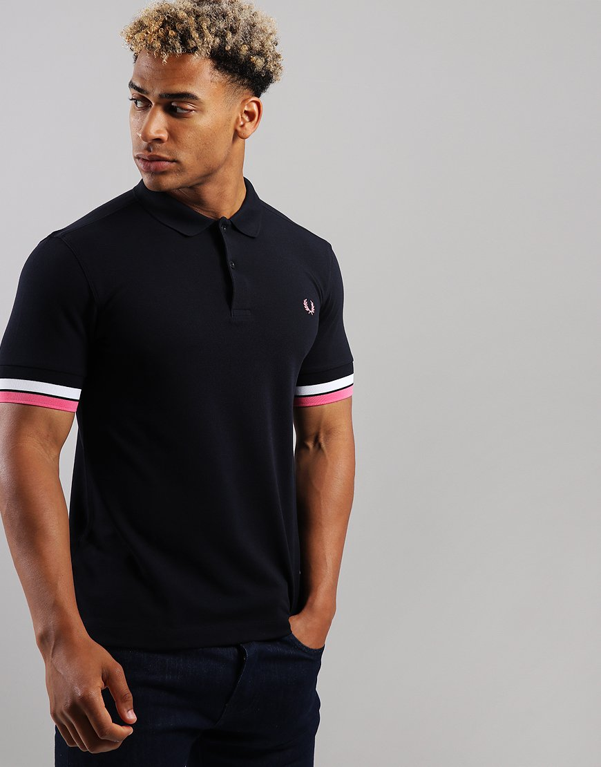 2bb872fd2 Fred Perry Bold Cuff Pique Polo Shirt Navy